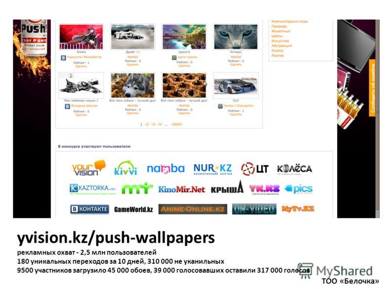 yvision.kz/push-wallpapers рекламных охват - 2,5 млн пользователей 180 уникальных переходов за 10 дней, 310 000 не уканильных 9500 участников загрузило 45 000 обоев, 39 000 голосовавших оставили 317 000 голосов