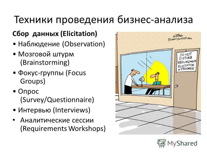 Техники проведения бизнес-анализа Сбор данных (Elicitation) Наблюдение (Observation) Мозговой штурм (Brainstorming) Фокус-группы (Focus Groups) Опрос (Survey/Questionnaire) Интервью (Interviews) Аналитические сессии (Requirements Workshops)