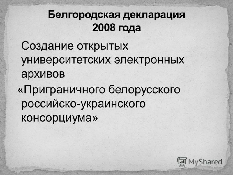 Создание открытых университетских электронных архивов «Приграничного белорусского российско-украинского консорциума»