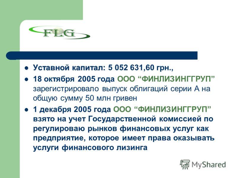 Уставной капитал: Уставной капитал: 5 052 631,60 грн., 18 октября 2005 года ООО ФИНЛИЗИНГГРУП зарегистрировало выпуск облигаций серии А на общую сумму 50 млн гривен 1 декабря 2005 года ООО ФИНЛИЗИНГГРУП взято на учет Государственной комиссией по регу