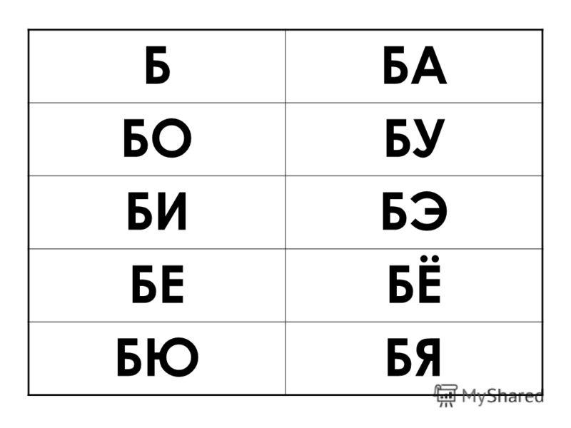 С буквой Б можно еще составить и такие слоги – БЕ, БЁ, БЮ, БЯ, БЫ, БЭ БЕБЕ БЁБЁ БЯБЯ БЮБЮБЫБЫ БЭБЭ
