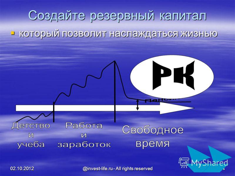 16.08.2012 @invest-life.ru - All rights reserved 4 Создайте резервный капитал который позволит наслаждаться жизнью который позволит наслаждаться жизнью