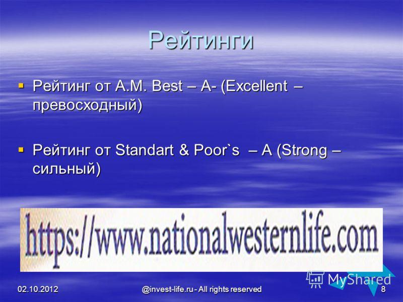 16.08.2012 @invest-life.ru - All rights reserved 8 Рейтинги Рейтинг от A.M. Best – A- (Excellent – превосходный) Рейтинг от A.M. Best – A- (Excellent – превосходный) Рейтинг от Standart & Poor`s – A (Strong – сильный) Рейтинг от Standart & Poor`s – A