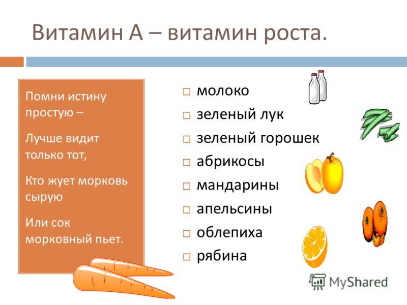 Витамин А – витамин роста. Помни истину простую – Лучше видит только тот, Кто жует морковь сырую Или сок морковный пьет. молоко зеленый лук зеленый горошек абрикосы мандарины апельсины облепиха рябина