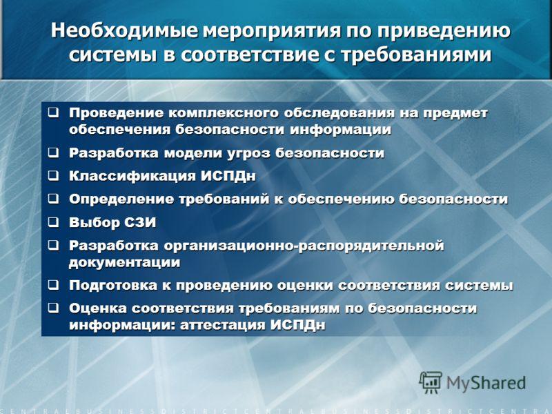 Необходимые мероприятия по приведению системы в соответствие с требованиями Проведение комплексного обследования на предмет обеспечения безопасности информации Проведение комплексного обследования на предмет обеспечения безопасности информации Разраб