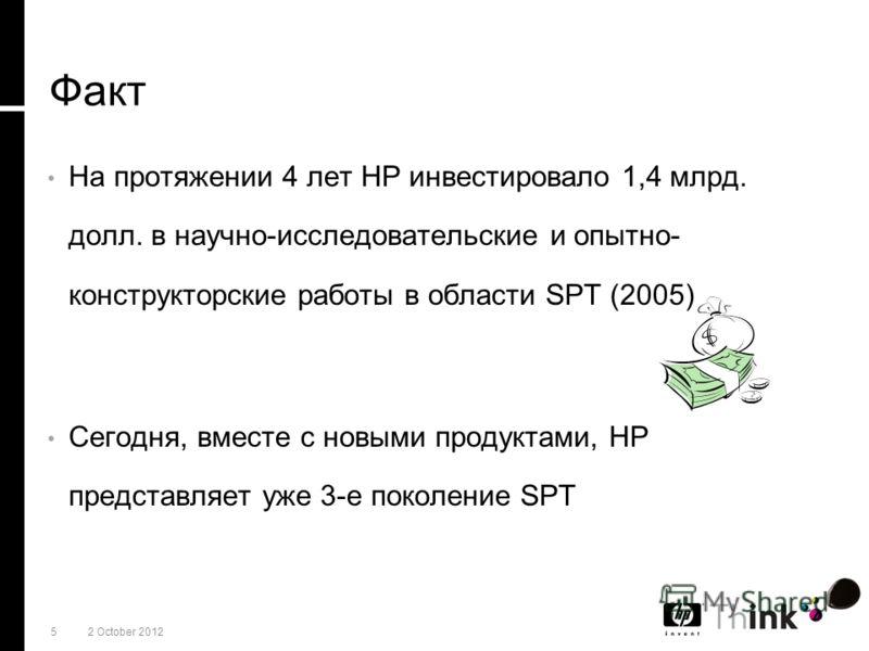 521 July 2012 Факт На протяжении 4 лет HP инвестировало 1,4 млрд. долл. в научно-исследовательские и опытно- конструкторские работы в области SPT (2005) Сегодня, вместе с новыми продуктами, HP представляет уже 3-е поколение SPT