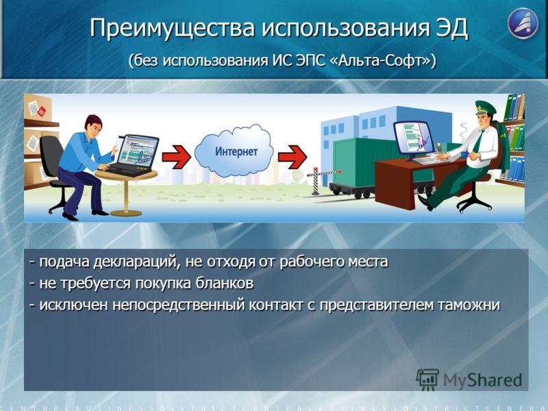 Преимущества использования ЭД (без использования ИС ЭПС «Альта-Софт») - подача деклараций, не отходя от рабочего места - не требуется покупка бланков - исключен непосредственный контакт с представителем таможни