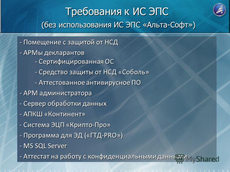 Требования к ИС ЭПС (без использования ИС ЭПС «Альта-Софт») - Помещение с защитой от НСД - АРМы декларантов - Сертифицированная ОС - Средство защиты от НСД «Соболь» - Аттестованное антивирусное ПО - АРМ администратора - Сервер обработки данных - АПКШ