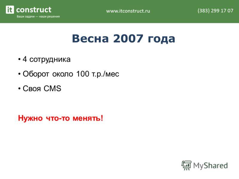 Весна 2007 года 4 сотрудника Оборот около 100 т.р./мес Своя CMS Нужно что-то менять!