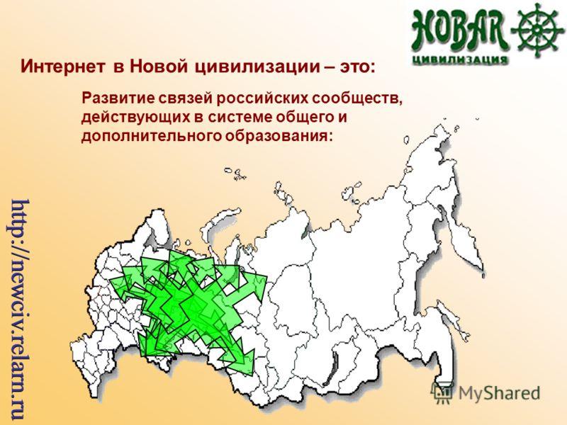 Интернет в Новой цивилизации – это: Развитие связей российских сообществ, действующих в системе общего и дополнительного образования: http://newciv.relarn.ru