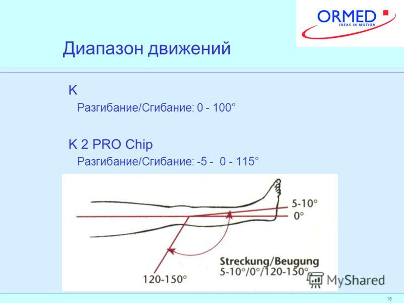 16 Диапазон движений K Разгибание/Сгибание: 0 - 100° K 2 PRO Chip Разгибание/Сгибание: -5 - 0 - 115°