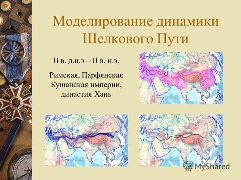 Моделирование динамики Шелкового Пути II в. д.н.э – II в. н.э. Римская, Парфянская Кушанская империи, династия Хань