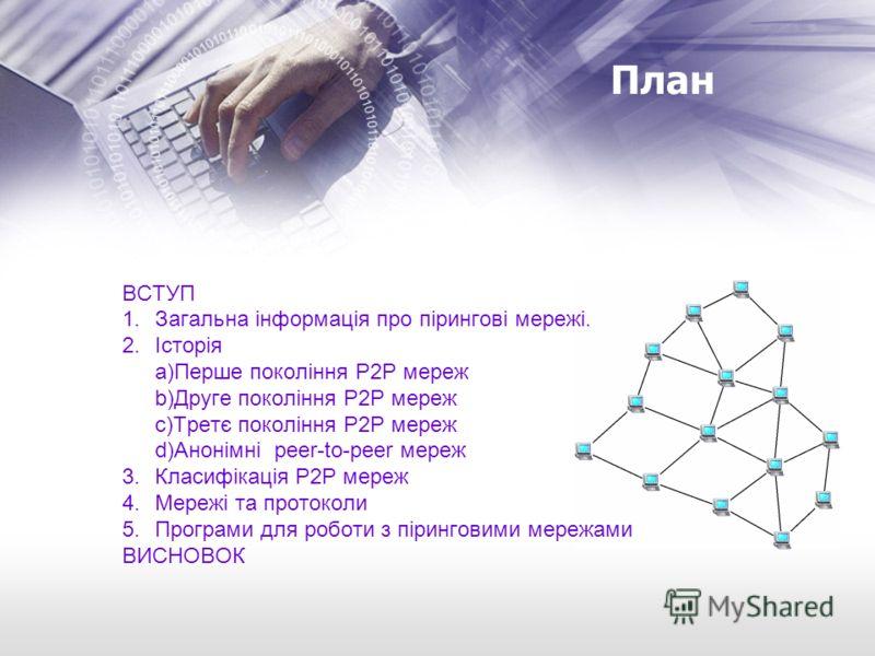 План ВСТУП 1.Загальна інформація про пірингові мережі. 2.Історія a)Перше покоління Р2Р мереж b)Друге покоління Р2Р мереж c)Третє покоління Р2Р мереж d)Анонімні peer-to-peer мереж 3.Класифікація Р2Р мереж 4.Мережі та протоколи 5.Програми для роботи з
