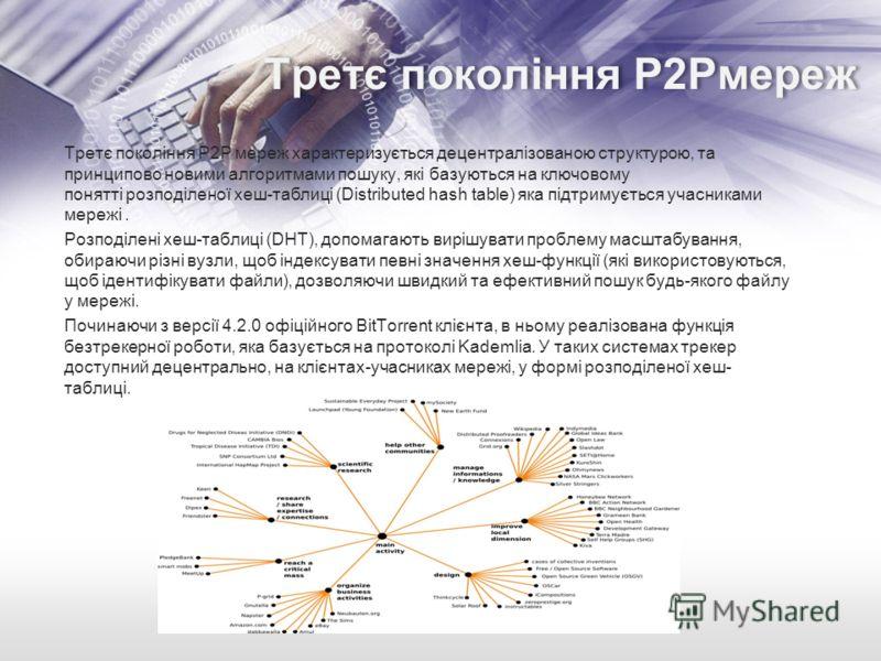 Третє покоління P2Pмереж Третє покоління P2P мереж характеризується децентралізованою структурою, та принципово новими алгоритмами пошуку, які базуються на ключовому понятті розподіленої хеш-таблиці (Distributed hash table) яка підтримується учасника