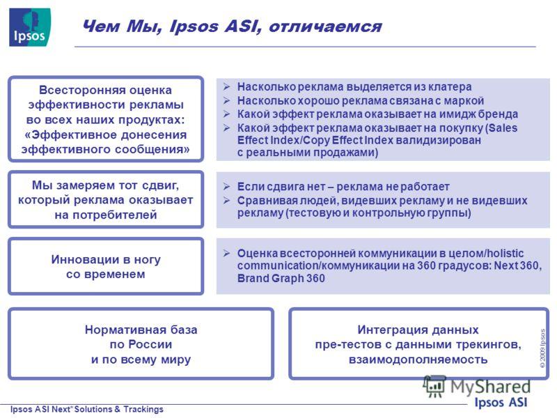 Ipsos ASI Next*Solutions & Trackings © 200 9 Ipsos Чем Мы, Ipsos ASI, отличаемся Нормативная база по России и по всему миру Если сдвига нет – реклама не работает Сравнивая людей, видевших рекламу и не видевших рекламу (тестовую и контрольную группы)