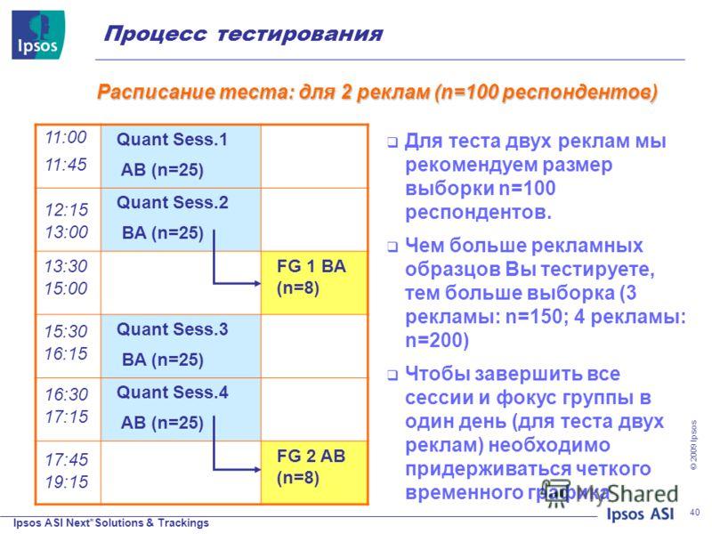 Ipsos ASI Next*Solutions & Trackings © 200 9 Ipsos 40 Quant Sess.1 AB (n=25) Quant Sess.2 BA (n=25) FG 1 BA (n=8) Quant Sess.3 BA (n=25) Quant Sess.4 AB (n=25) FG 2 AB (n=8) 11:00 11:45 12:15 13:00 13:30 15:00 15:30 16:15 16:30 17:15 17:45 19:15 Для
