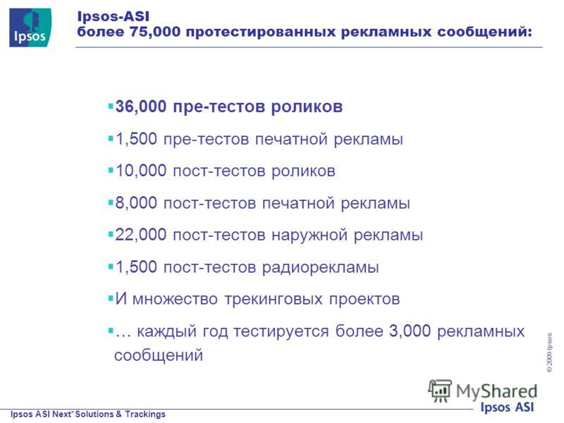 Ipsos ASI Next*Solutions & Trackings © 200 9 Ipsos Ipsos-ASI более 75,000 протестированных рекламных сообщений: 36,000 пре-тестов роликов 1,500 пре-тестов печатной рекламы 10,000 пост-тестов роликов 8,000 пост-тестов печатной рекламы 22,000 пост-тест