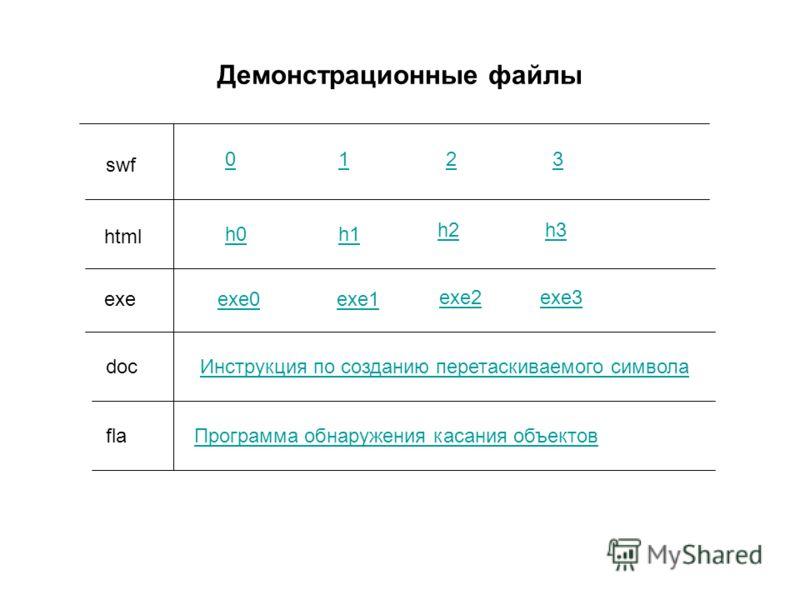 Демонстрационные файлы 0123 h0h1 h2h3 Инструкция по созданию перетаскиваемого символа Программа обнаружения касания объектовfla html exe doc swf exe0exe1 exe2exe3