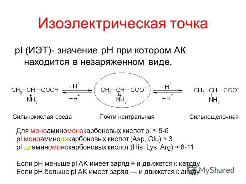 Изоэлектрическая точка pI (ИЭТ)- значение pH при котором АК находится в незаряженном виде. Сильнокислая среда Почти нейтральная Сильнощелочная Для моноаминомонокарбоновых кислот pI 5-6 pI моноаминодикарбоновых кислот (Asp, Glu) 3 pI диаминомонокарбон