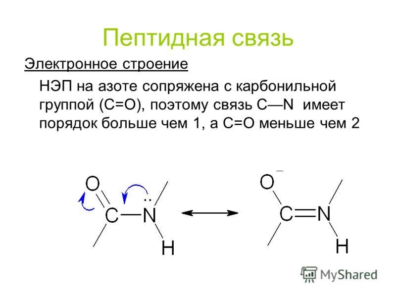 Пептидная связь Электронное строение НЭП на азоте сопряжена с карбонильной группой (С=О), поэтому связь CN имеет порядок больше чем 1, а С=О меньше чем 2