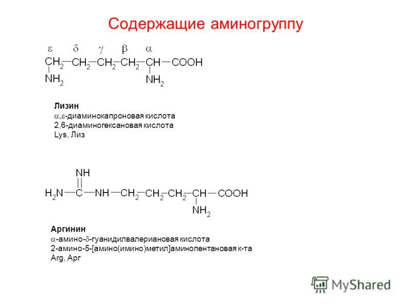 Содержащие аминогруппу Лизин -диаминокапроновая кислота 2,6-диаминогексановая кислота Lys, Лиз Аргинин -амино- -гуанидилвалериановая кислота 2-амино-5-[амино(имино)метил]аминопентановая к-та Arg, Арг