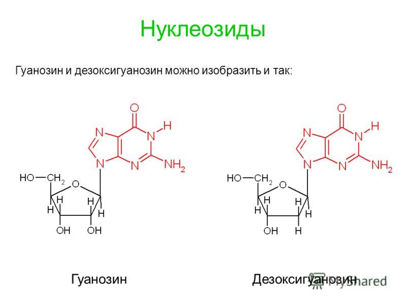 Нуклеозиды ГуанозинДезоксигуанозин Гуанозин и дезоксигуанозин можно изобразить и так: