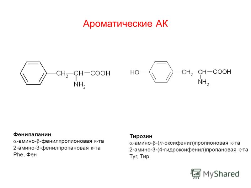 Ароматические АК Фенилаланин -амино- -фенилпропионовая к-та 2-амино-3-фенилпропановая к-та Phe, Фен Тирозин -амино- -(п-оксифенил)пропионовая к-та 2-амино-3-(4-гидроксифенил)пропановая к-та Tyr, Тир