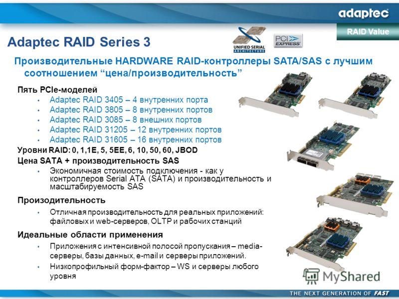 Adaptec RAID Series 3 Пять PCIe-моделей Adaptec RAID 3405 – 4 внутренних порта Adaptec RAID 3805 – 8 внутренних портов Adaptec RAID 3085 – 8 внешних портов Adaptec RAID 31205 – 12 внутренних портов Adaptec RAID 31605 – 16 внутренних портов Уровни RAI