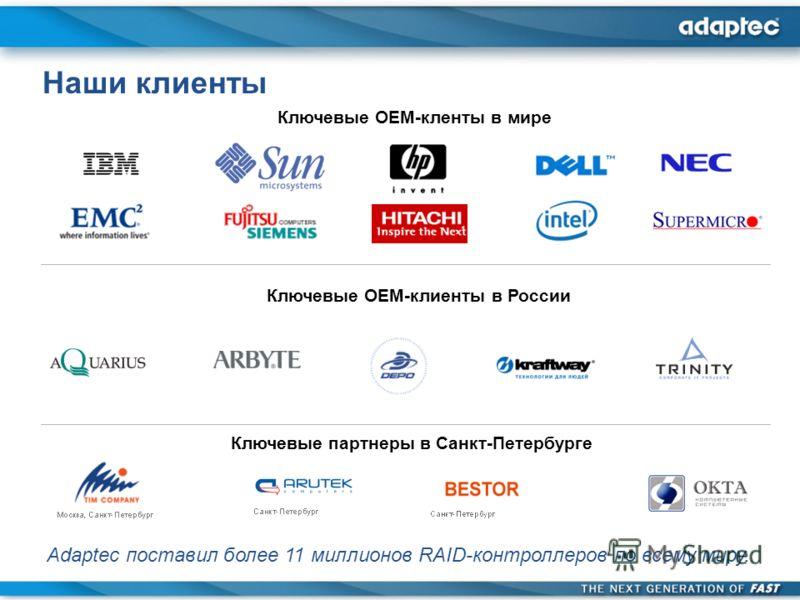 Adaptec поставил более 11 миллионов RAID-контроллеров по всему миру. Наши клиенты Ключевые OEM-кленты в мире Ключевые OEM-клиенты в России Ключевые партнеры в Санкт-Петербурге