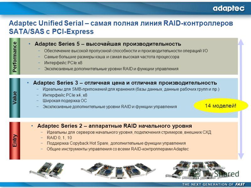 Adaptec Unified Serial – самая полная линия RAID-контроллеров SATA/SAS с PCI-Express Adaptec Series 2 – аппаратные RAID начального уровня Идеальны для серверов начального уровня, подключения стримеров, внешних СХД RAID 0, 1, 10 Поддержка Copyback Hot