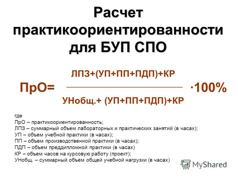 Расчет практикоориентированности для БУП СПО ЛПЗ+(УП+ПП+ПДП)+КР ПрО= ·100% УНобщ.+ (УП+ПП+ПДП)+КР где ПрО – практикоориентированность; ЛПЗ – суммарный объем лабораторных и практических занятий (в часах); УП – объем учебной практики (в часах); ПП – об