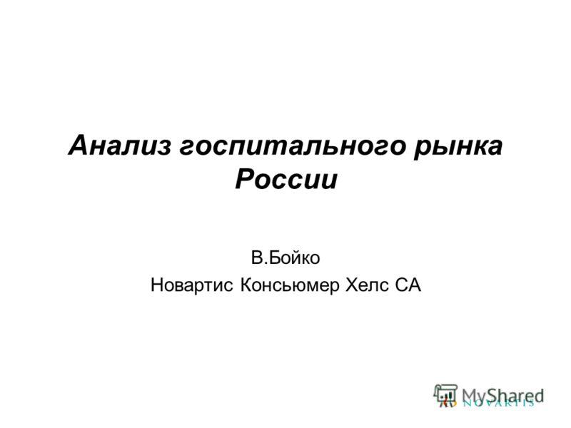 Анализ госпитального рынка России В.Бойко Новартис Консьюмер Хелс СА