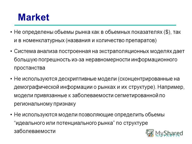Не определены обьемы рынка как в обьемных показателях ($), так и в номенклатурных (названия и количество препаратов) Система анализа построенная на экстраполяционных моделях дает большую погрешность из-за неравномерности информационного простанства Н