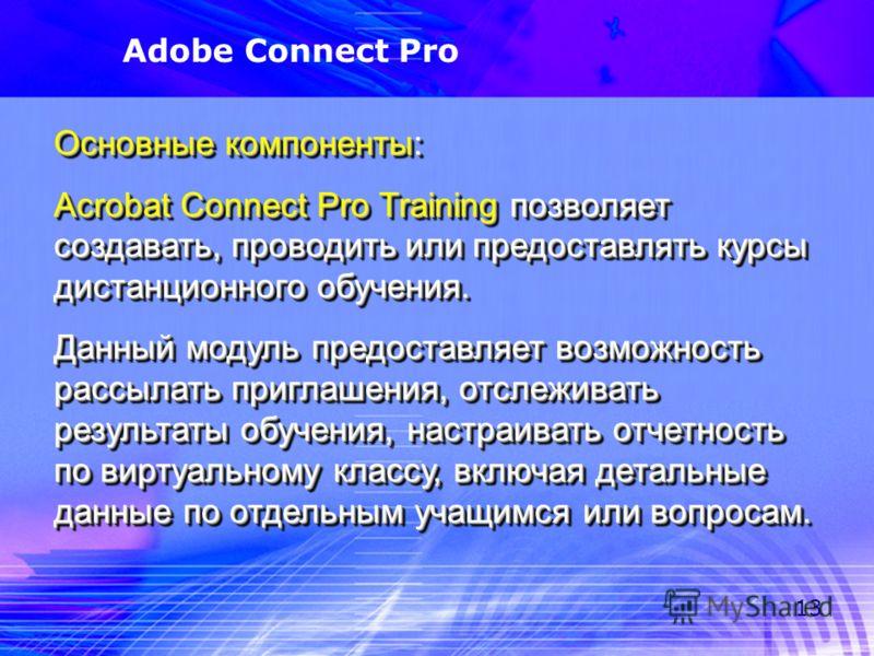 13 Adobe Connect Pro Основные компоненты: Acrobat Connect Pro Training позволяет создавать, проводить или предоставлять курсы дистанционного обучения. Данный модуль предоставляет возможность рассылать приглашения, отслеживать результаты обучения, нас