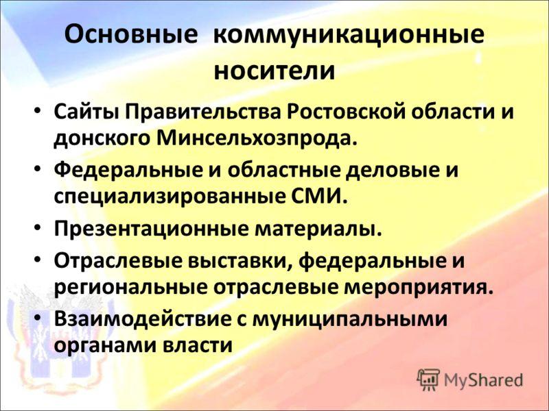 Основные коммуникационные носители Сайты Правительства Ростовской области и донского Минсельхозпрода. Федеральные и областные деловые и специализирова