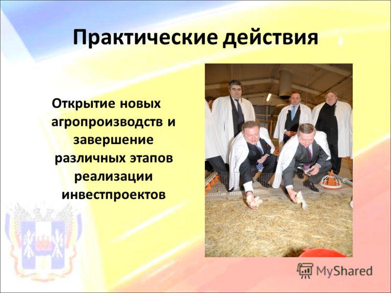 Практические действия Открытие новых агропроизводств и завершение различных этапов реализации инвестпроектов