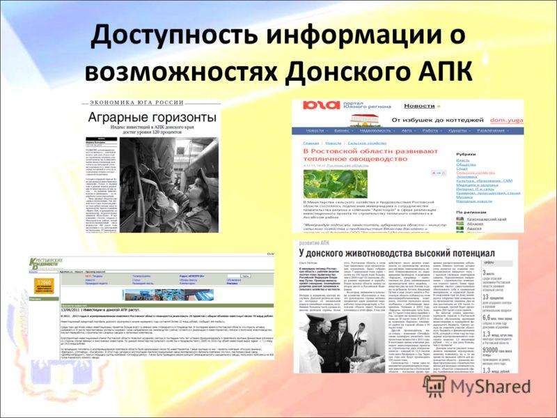 Доступность информации о возможностях Донского АПК