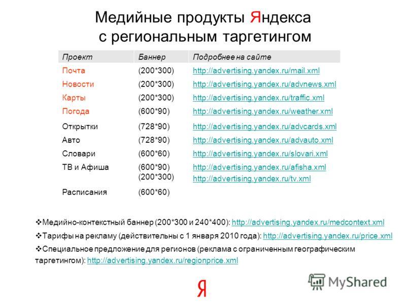 Медийно-контекстный баннер (200*300 и 240*400): http://advertising.yandex.ru/medcontext.xmlhttp://advertising.yandex.ru/medcontext.xml Тарифы на рекламу (действительны с 1 января 2010 года): http://advertising.yandex.ru/price.xmlhttp://advertising.ya