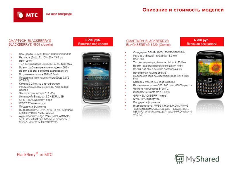 СМАРТФОН BLACKBERRY® BLACKBERRY® 8900 (Javelin) Стандарты GSM®: 1900/1800/900/850/MHz Размеры (ВхШхТ): 109 x60 x 13.5 мм Вес 109.9 г Тип аккумулятора, ёмкость Li-Ion, 1400 МАч Время работы в режиме ожидания 356 ч Время работы в режиме разговора 5,5 ч