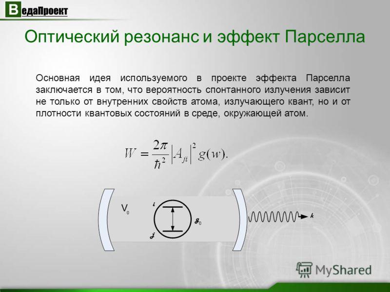 Оптический резонанс и эффект Парселла Основная идея используемого в проекте эффекта Парселла заключается в том, что вероятность спонтанного излучения зависит не только от внутренних свойств атома, излучающего квант, но и от плотности квантовых состоя