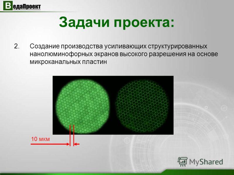 2.Создание производства усиливающих структурированных нанолюминофорных экранов высокого разрешения на основе микроканальных пластин Задачи проекта: 10 мкм