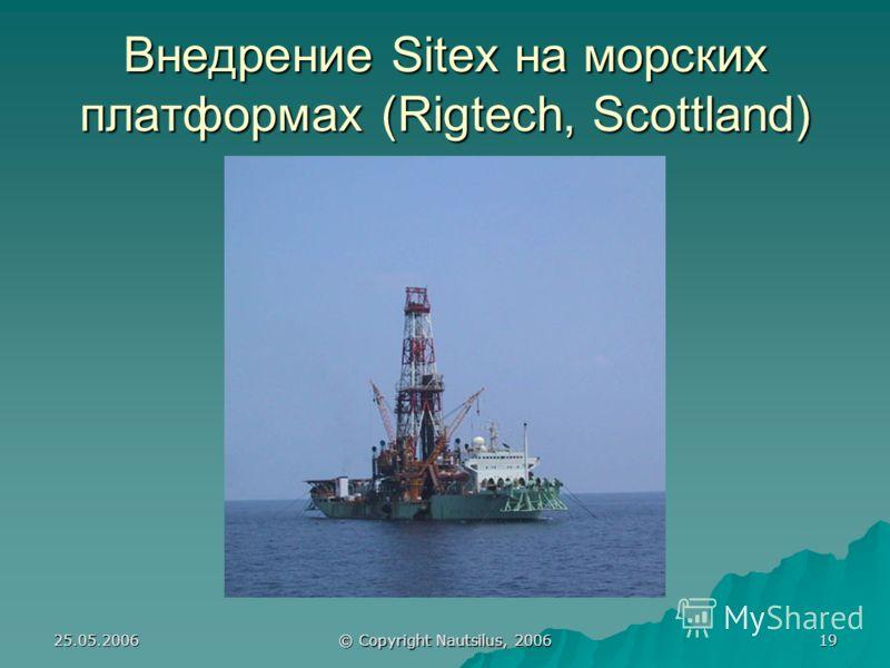 25.05.2006 © Copyright Nautsilus, 2006 19 Внедрение Sitex на морских платформах (Rigtech, Scottland)