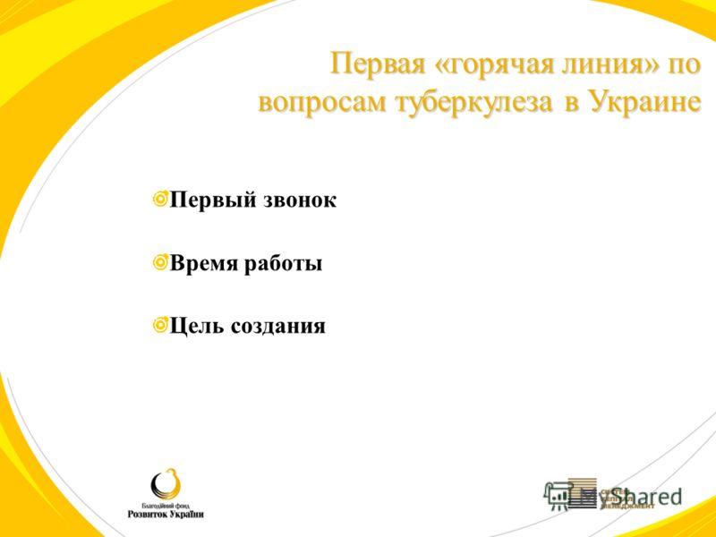 Первый звонок Время работы Цель создания Первая «горячая линия» по вопросам туберкулеза в Украине