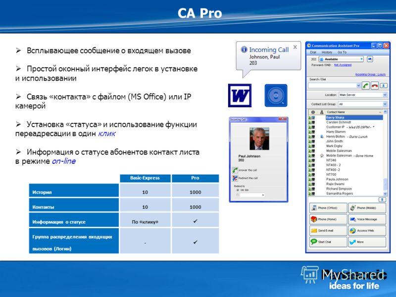 CA Pro Всплывающее сообщение о входящем вызове Простой оконный интерфейс легок в установке и использовании Связь «контакта» с файлом (MS Office) или IP камерой Установка «статуса» и использование функции переадресации в один клик Информация о статусе