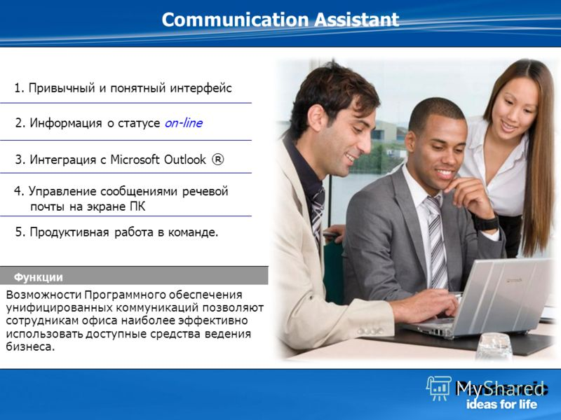 Communication Assistant 1. Привычный и понятный интерфейс 5. Продуктивная работа в команде. 3. Интеграция c Microsoft Outlook ® 2. Информация о статусе on-line Функции 4. Управление сообщениями речевой почты на экране ПК Возможности Программного обес