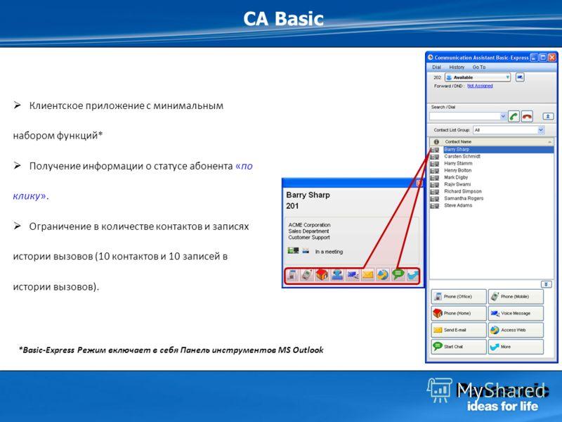CA Basic Клиентское приложение с минимальным набором функций* Получение информации о статусе абонента «по клику». Ограничение в количестве контактов и записях истории вызовов (10 контактов и 10 записей в истории вызовов). *Basic-Express Режим включае
