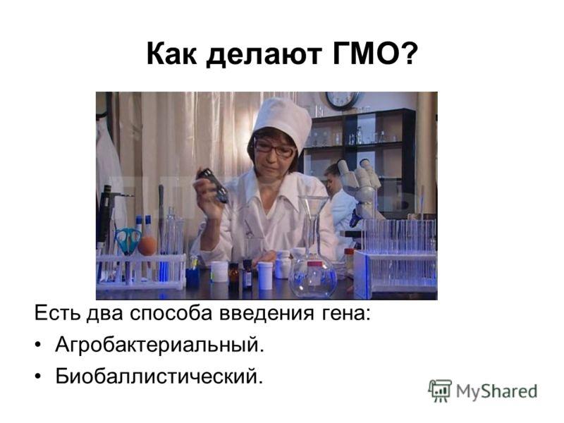 Как делают ГМО? Есть два способа введения гена: Агробактериальный. Биобаллистический.