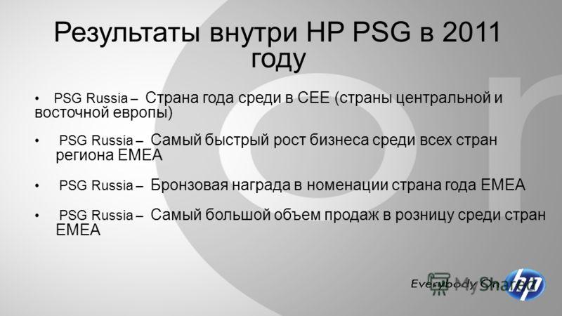Результаты внутри HP PSG в 2011 году PSG Russia – Страна года среди в CEE (страны центральной и восточной европы) PSG Russia – Cамый быстрый рост бизнеса среди всех стран региона ЕМЕА PSG Russia – Бронзовая награда в номенации страна года ЕМЕА PSG Ru