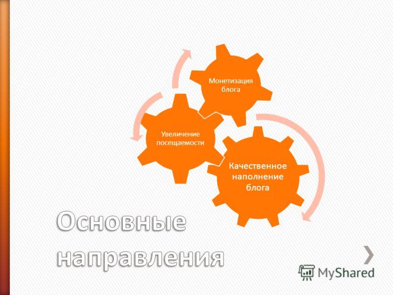 Качественное наполнение блога Увеличение посещаемости Монетизация блога