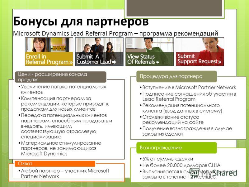 Бонусы для партнеров Microsoft Dynamics Lead Referral Program – программа рекомендаций Увеличение потока потенциальных клиентов Компенсация партнерам за рекомендации, которые приводят к продажам для новых клиентов Передача потенциальных клиентов парт